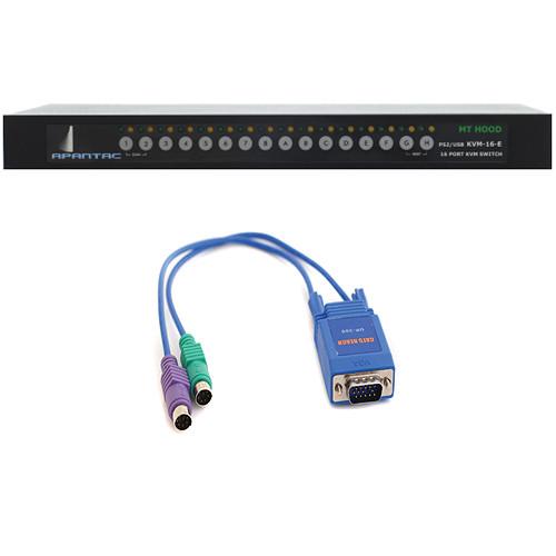 Apantac KVM-16-E Switch & 16 x UI-200E Extender Kit