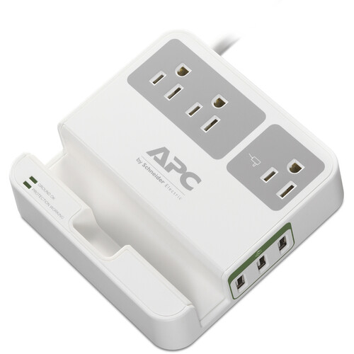APC Essential SurgeArrest 3-Outlet Surge Protector with USB Charging (6', 120V, White)