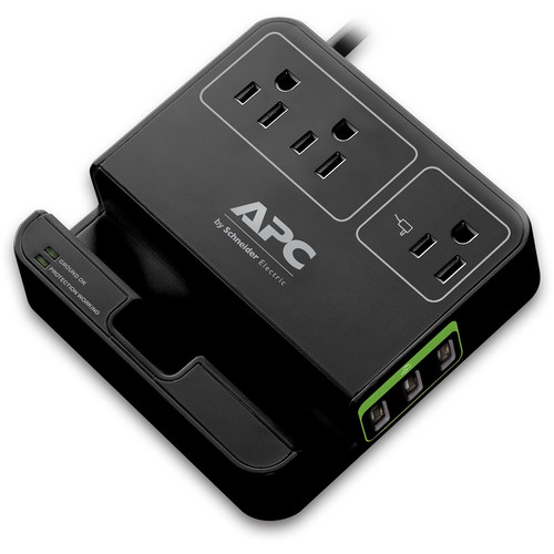 APC Essential SurgeArrest 3-Outlet Surge Protector with USB Charging (6', 120V, Black)