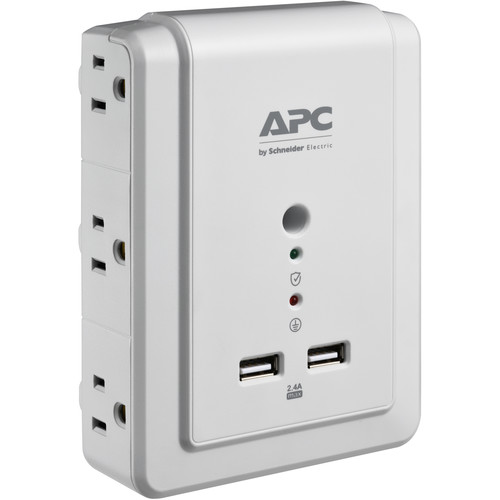 APC Essential SurgeArrest 6-Outlet Wall-Tap Surge Protector with USB (120V, White)