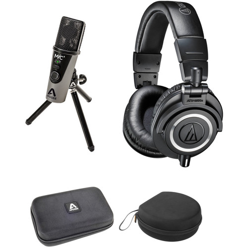 Apogee Electronics MiC Plus USB Cardioid Condenser Microphone Kit with Audio-Technica ATH-M50x Headphones & Cases