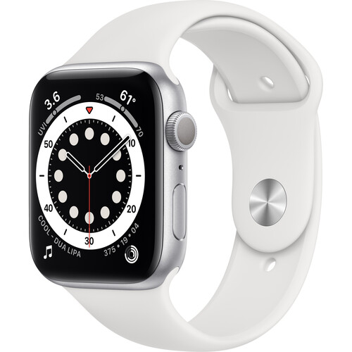 Apple Watch Series 6 (GPS, 44mm, Silver Aluminum, White Sport Band)