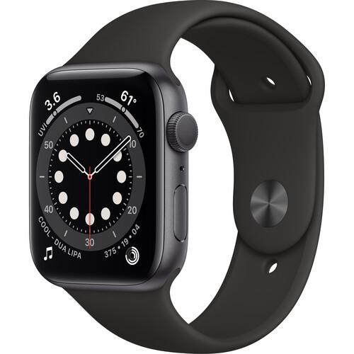 Apple Watch Series 6 (GPS, 44mm, Space Gray Aluminum, Black Sport Band)