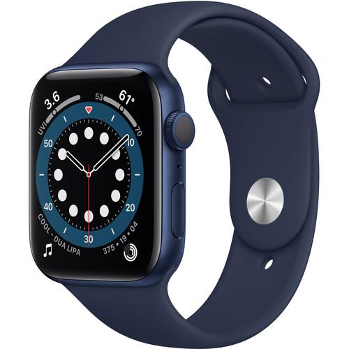 Apple Watch Series 6 (GPS, 44mm, Blue Aluminum, Deep Navy Sport Band)
