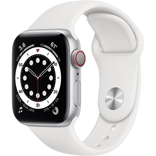 Apple Watch Series 6 (GPS + Cellular, 40mm, Silver Aluminum, White Sport Band)