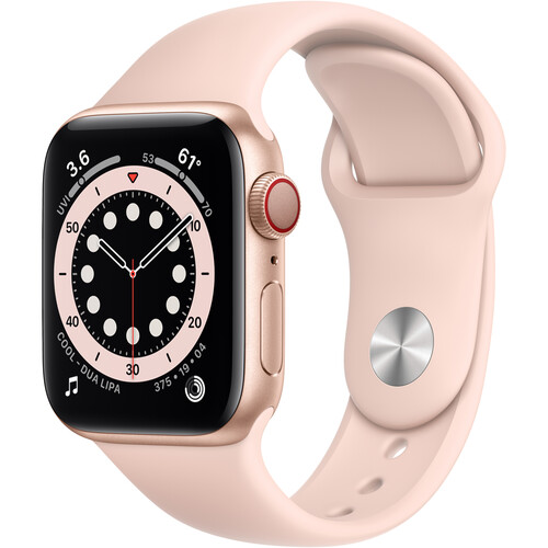 Apple Watch Series 6 (GPS + Cellular, 40mm, Gold Aluminum, Pink Sand Sport Band)