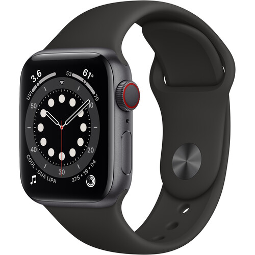Apple Watch Series 6 (GPS + Cellular, 40mm, Space Gray Aluminum, Black Sport Band)