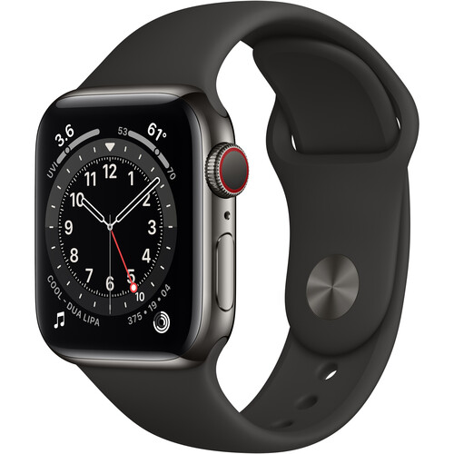 Apple Watch Series 6 (GPS + Cellular, 40mm, Graphite Stainless Steel, Black Sport Band)