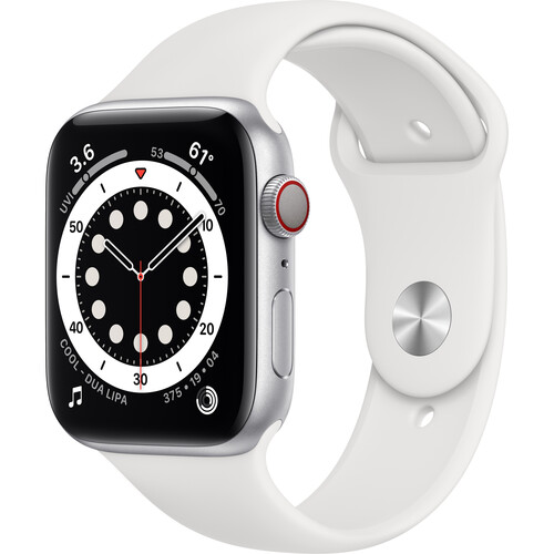 Apple Watch Series 6 (GPS + Cellular, 44mm, Silver Aluminum, White Sport Band)