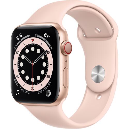Apple Watch Series 6 (GPS + Cellular, 44mm, Gold Aluminum, Pink Sand Sport Band)