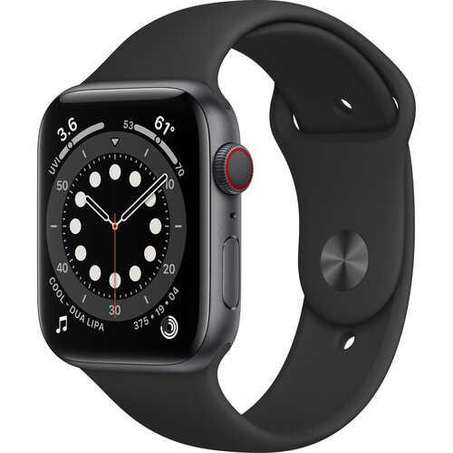 Apple Watch Series 6 (GPS + Cellular, 44mm, Space Gray Aluminum, Black Sport Band)