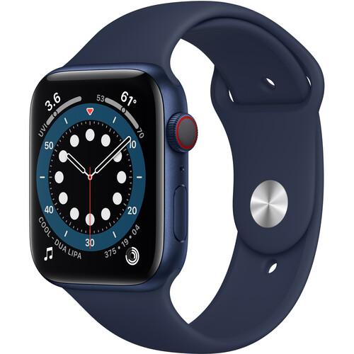 Apple Watch Series 6 (GPS + Cellular, 44mm, Blue Aluminum, Deep Navy Sport Band)