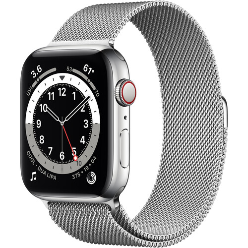 Apple Watch Series 6 (GPS + Cellular, 44mm, Silver Stainless Steel, Silver Milanese Loop Band)