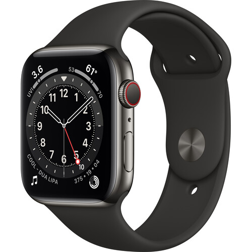 Apple Watch Series 6 (GPS + Cellular, 44mm, Graphite Stainless Steel, Black Sport Band)