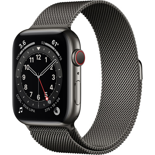 Apple Watch Series 6 (GPS + Cellular, 44mm, Graphite Stainless Steel, Graphite Milanese Loop Band)
