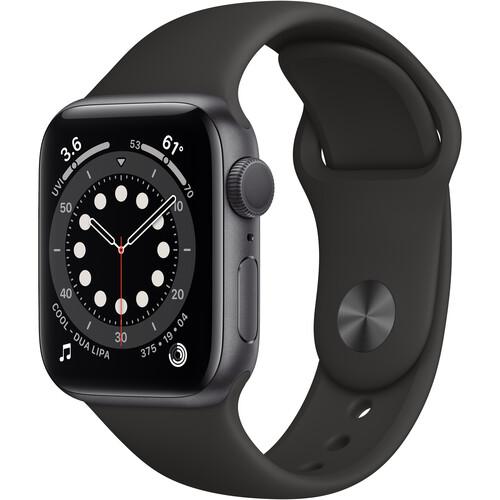Apple Watch Series 6 (GPS, 40mm, Space Gray Aluminum, Black Sport Band)