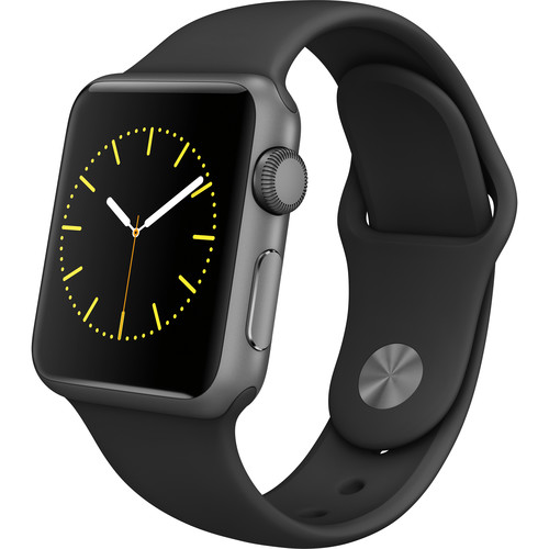 Apple Watch Sport 38mm Smartwatch (2015, Space Gray Aluminum Case, Black Sport Band)