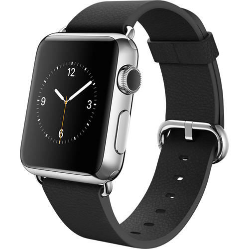 Apple Watch 38mm Smartwatch (2015, Stainless Steel Case, Black Classic Buckle Band)