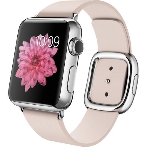 Apple Watch 38mm Smartwatch (2015, Stainless Steel Case, Soft Pink Medium Modern Buckle Band)