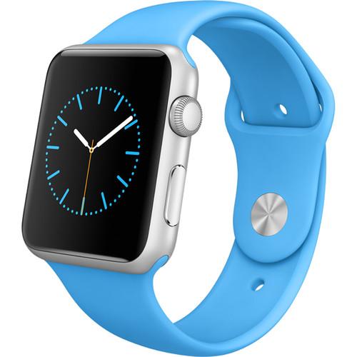 Apple Watch Sport 42mm Smartwatch (2015, Silver Aluminum Case, Blue Sport Band)