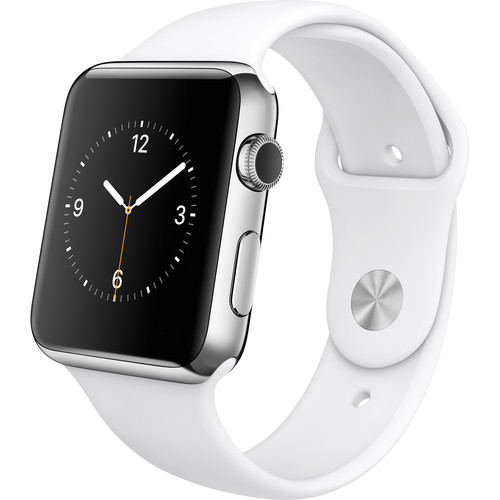 Apple Watch 42mm Smartwatch (2015, Stainless Steel Case, White Sport Band)