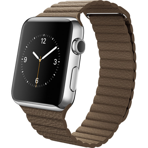 Apple Watch 42mm Smartwatch (2015, Stainless Steel Case, Light Brown Large Leather Loop Band)