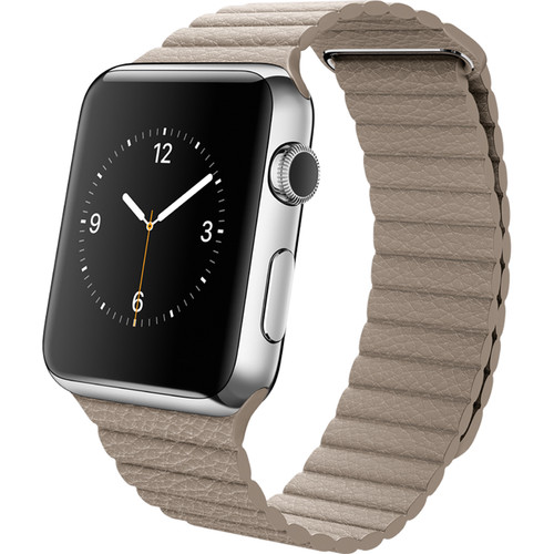 Apple Watch 42mm Smartwatch (2015, Stainless Steel Case, Stone Large Leather Loop Band)