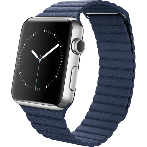 Apple Watch 42mm Smartwatch (2015, Stainless Steel Case, Bright Blue Medium Leather Loop Band)