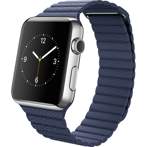 Apple Watch 42mm Smartwatch (2015, Stainless Steel Case, Bright Blue Large Leather Loop Band)