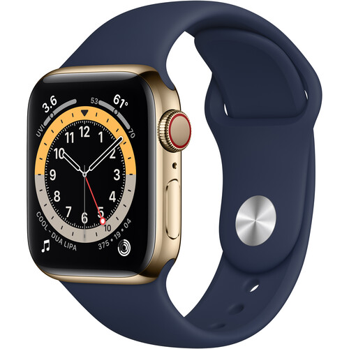Apple Watch Series 6 (GPS + Cellular, 40mm, Gold Stainless Steel, Deep Navy Sport Band)