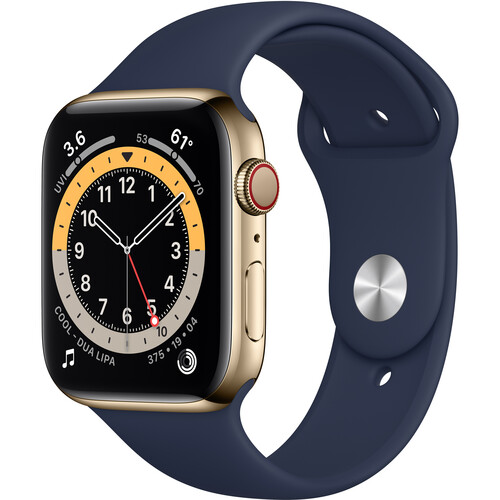 Apple Watch Series 6 (GPS + Cellular, 44mm, Gold Stainless Steel, Deep Navy Sport Band)