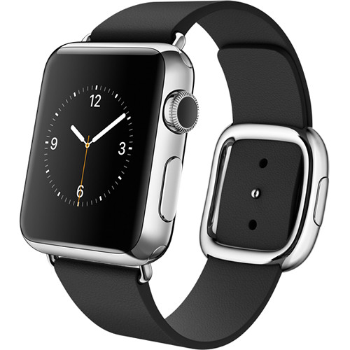 Apple Watch 38mm Smartwatch (2015, Stainless Steel Case, Black Small Modern Buckle Band)