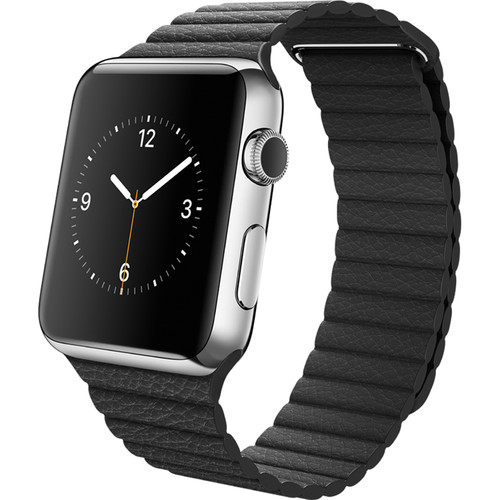 Apple Watch 42mm Smartwatch (2015, Stainless Steel Case, Black Medium Leather Loop Band)