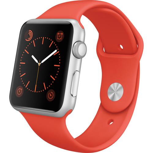 Apple Watch Sport 42mm Smartwatch (2015, Silver Aluminum Case, Orange Sport Band)