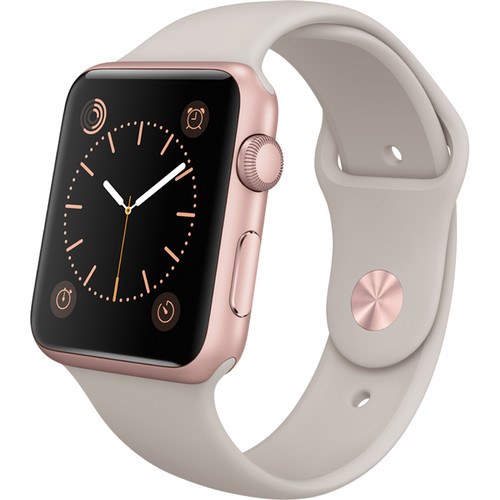 Apple Watch Sport 42mm Smartwatch (2015, Rose Gold Aluminum Case, Stone Sport Band)