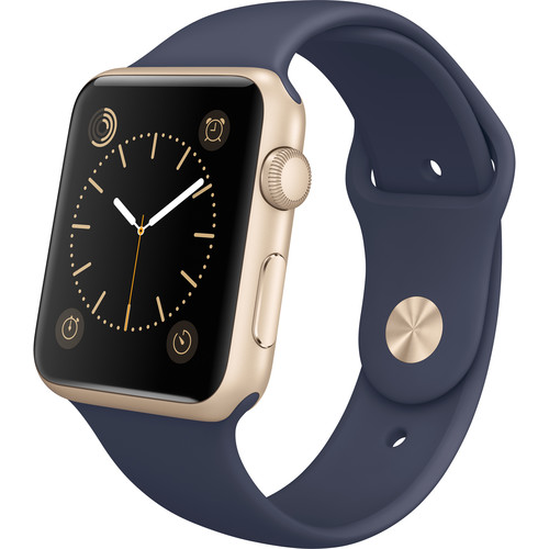 Apple Watch Sport 42mm Smartwatch (2015, Gold Aluminum Case, Midnight Blue Sport Band)