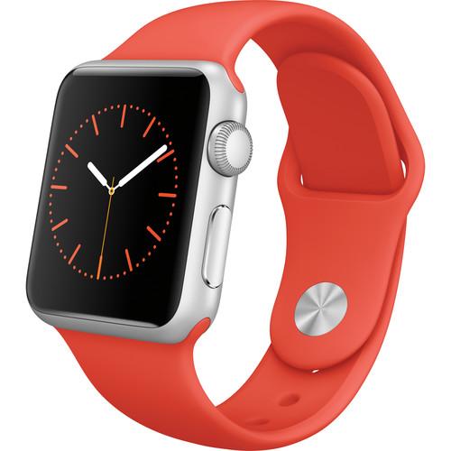 Apple Watch Sport 38mm Smartwatch (2015, Silver Aluminum Case, Orange Sport Band)