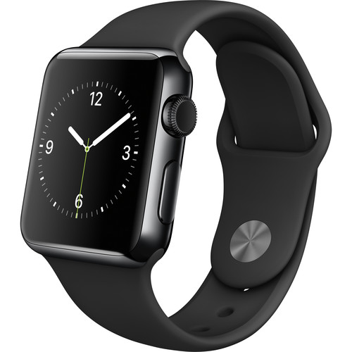 Apple Watch 38mm Smartwatch (2015, Space Black Stainless Steel Case, Black Sport Band)