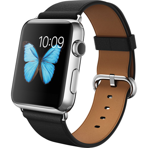 Apple Watch 42mm Smartwatch (2015, Stainless Steel Case, Black Classic Buckle Band)