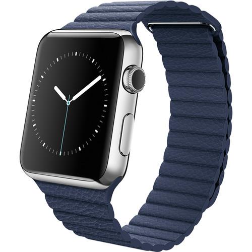Apple Watch 42mm Smartwatch (2015, Stainless Steel Case, Midnight Blue Medium Leather Loop Band)