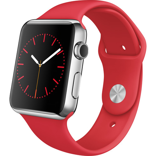 Apple Watch 42mm Smartwatch (2015, Stainless Steel Case, RED Sport Band)