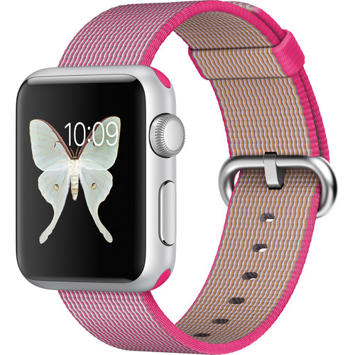 Apple Watch Sport 38mm Smartwatch (2015, Silver Aluminum Case, Pink Woven Nylon Band)