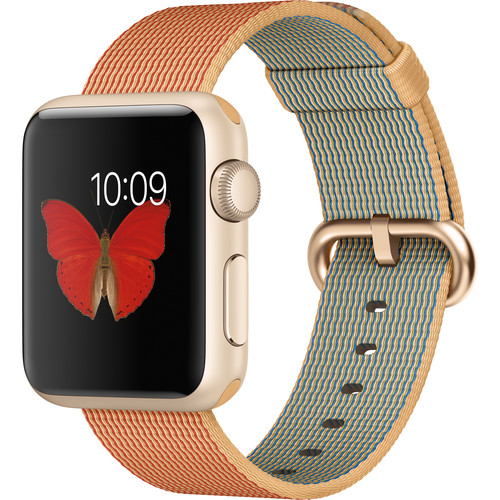 Apple Watch Sport 38mm Smartwatch (2015, Gold Aluminum Case, Gold/Red Woven Nylon Band)