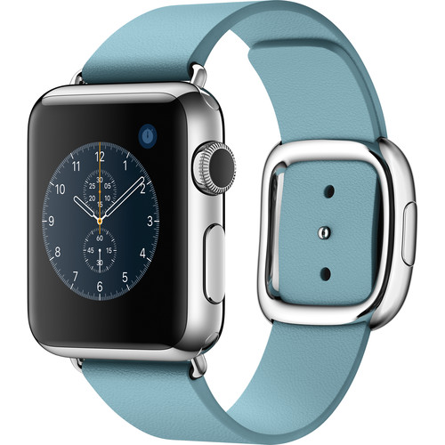 Apple Watch 38mm Smartwatch (2015, Stainless Steel Case, Blue Jay Large Modern Buckle Band)