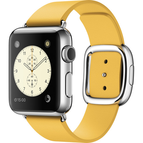 Apple Watch 38mm Smartwatch (2015, Stainless Steel Case, Marigold Large Modern Buckle Band)