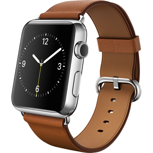 Apple Watch 42mm Smartwatch (2015, Stainless Steel Case, Saddle Brown Classic Buckle Band)