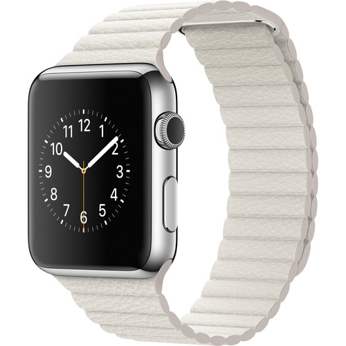 Apple Watch 42mm Smartwatch (2015, Stainless Steel Case, White Large Leather Loop Band)