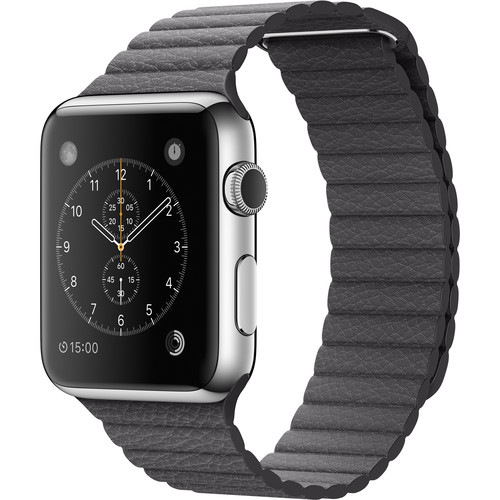 Apple Watch 42mm Smartwatch (2015, Stainless Steel Case, Storm Gray Medium Leather Loop Band)