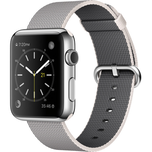 Apple Watch 42mm Smartwatch (2015, Stainless Steel Case, Pearl Woven Nylon Band)