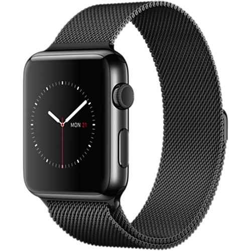 Apple Watch 42mm Smartwatch (2015, Space Black Stainless Steel Case, Space Black Milanese Loop Band)